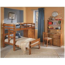 Heartland L-Shaped Bunk Bed with options: Honey Pine, Twin over Twin, Without Chest