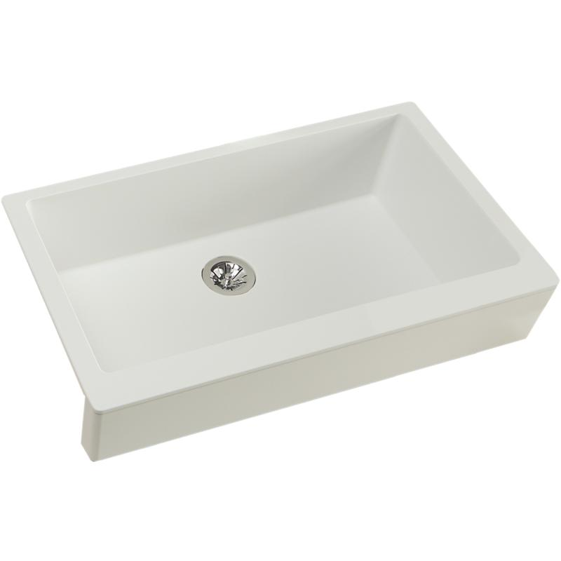 "Elkay Quartz Luxe 35-7/8"" x 20-15/16"" x 9"" Single Bowl Farmhouse Sink with Perfect Drain, Ricotta"