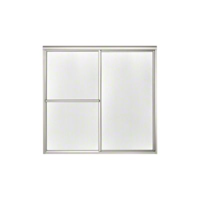 "Deluxe Sliding Bath Door - Height 56-1/4"", Max. Opening 59-3/8"" - Nickel with Pebbled Glass Texture"