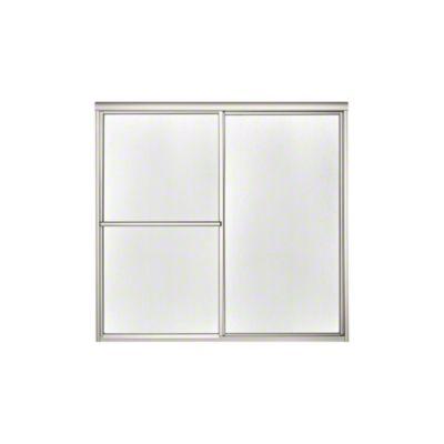 "Deluxe Sliding Bath Door - Height 56-1/4"", Max. Opening 59-3/8"" - Nickel with Pebbled Glass Texture"