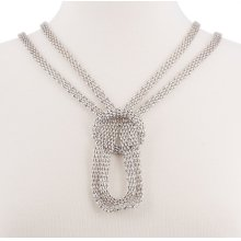 BTQ Silver Mesh Knot Chain Necklace