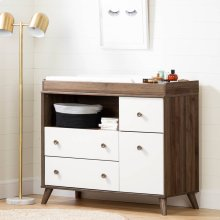Changing Table with Drawers and Open Storage - Natural Walnut and Pure White