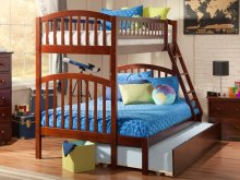 Richland Bunk Bed Twin over Full with Urban Trundle Bed in Walnut