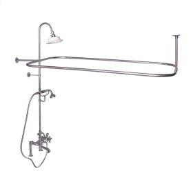 Rectangular Shower Unit - Metal Cross Handles - Polished Brass
