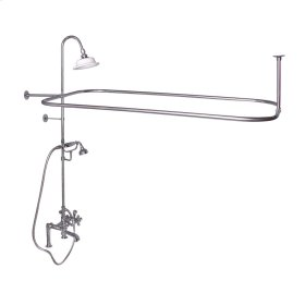 Rectangular Shower Unit - Metal Cross Handles - Polished Brass