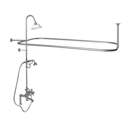 Rectangular Shower Unit - Metal Cross Handles - Brushed Nickel