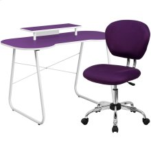 Purple Computer Desk with Monitor Platform and Mesh Chair