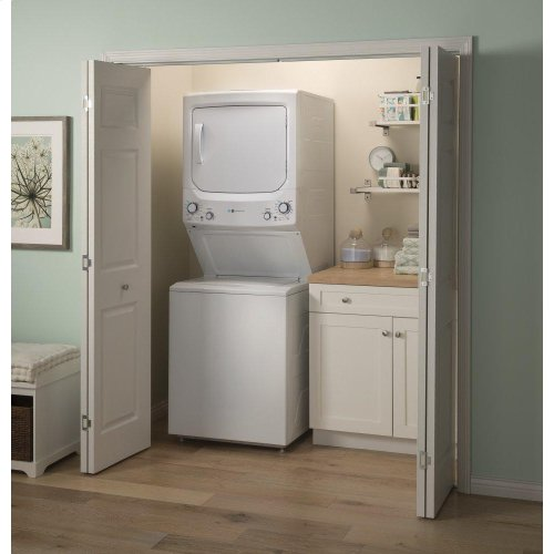 GE Unitized Spacemaker® 3.9 cu. ft. Capacity Washer with Stainless Steel Basket and 5.9 cu. ft. Capacity Gas Dryer