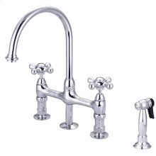 Harding Kitchen Bridge Faucet - Metal Cross Handles - Polished Chrome