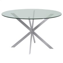 Armen Living Mystere Round Dining Table in Brushed Stainless Steel with Clear Tempered Glass Top