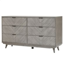 Piero Chevron Dresser with 6 Drawers, Weathered Gray
