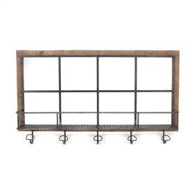 Wood/metal Shelf W/ Hooks