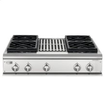"GE Monogram® 36"" Professional Gas Cooktop with 4 Burners and Grill (Liquid Propane)"