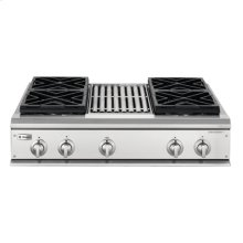 """GE Monogram® 36"""" Professional Gas Cooktop with 4 Burners and Grill (Liquid Propane)"""