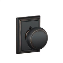 Andover Knob with Addison trim Non-turning Lock - Aged Bronze