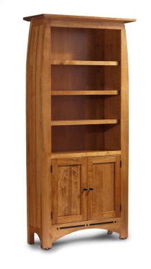 Aspen Tall Bookcase, Wood Doors on Bottom, Aspen Tall Bookcase with Inlay, Wood Doors on Bottom, 5-Adjustable Shelves