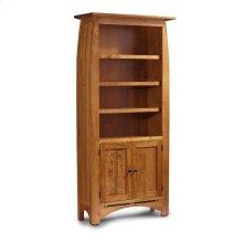 Aspen Tall Bookcase, Wood Doors on Bottom, Aspen Tall Bookcase with Inlay, Wood Doors on Bottom, 5-Adjustable Shelves