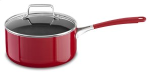 Aluminum Nonstick 3.0-Quart Saucepan with Lid - Empire Red