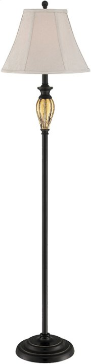 Floor Lamp - Dark Brz W.AMB DECO./FABRIC Shade, E27 Cfl 23w Product Image