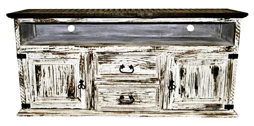 2 Door 2 Drawer TV Stand White Scraped