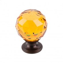 Amber Crystal Knob 1 3/8 Inch - Oil Rubbed Bronze