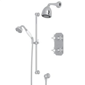 Polished Chrome Perrin & Rowe Edwardian Thermostatic Shower Package with Edwardian Cross Handle