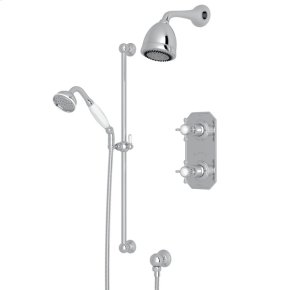 Polished Chrome Edwardian U.KIT52L Thermostatic Shower Package with Edwardian Cross Handle