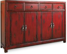"58"" Red Asian Cabinet"