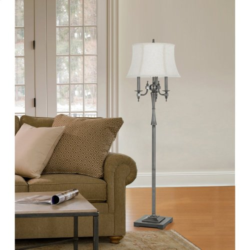 150W 6 Way Madison Metal Floor Lamp With SofTBack Fabric Shade
