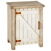 Distressed White Cabinet With Rusted Hardware. Product Image