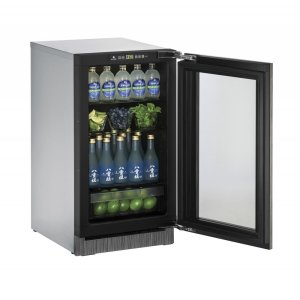 "U-Line2000 Series 18"" Glass Door Refrigerator With Integrated Frame Finish and Field Reversible Door Swing (115 Volts / 60 Hz)"