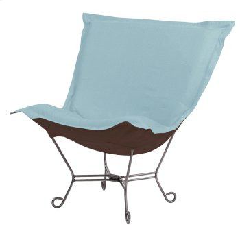 Scroll Puff Chair Sterling Breeze Titanium Frame Product Image
