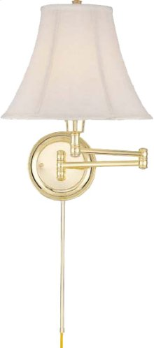 Swing Arm Wall Lamp - Pb/empire Fabric, E27 Cfl 25w/3-way
