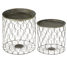 2 pc. set. Rustic Honeycomb Storage Side Table. Tray Tops are Removable. (2 pc. set)