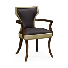Art Deco Armchair, Upholstered in Dark Chocolate Leather
