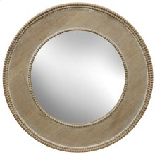 Round Beaded Wooden Mirror  24in X 24in X 1in  Framed Wall Mirror