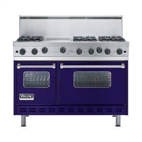 """Cobalt Blue 48"""" Open Burner Range - VGIC (48"""" wide, six burners 12"""" wide griddle/simmer plate)"""