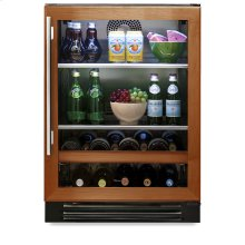 24 Inch Overlay Glass Door Beverage Center - Left Hinge Overlay Glass