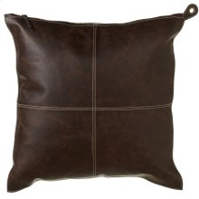 Faux Leather Pillow with Red Plaid Back.