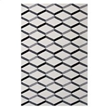 Sigrun Geometric Chevron 8x10 Area Rug in Black and White