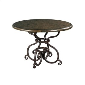 44IN Round Dining Table W/ Metal Base - Black Forest