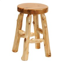 "Round Counter Stool - 24"" high - Natural Cedar - Wood Seat - Armor Finish"