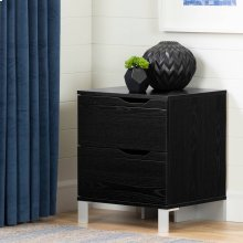 2-Drawer Nightstand - End Table with Storage - Black Oak