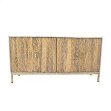 Gold/brown Wood Cabinet, Chevron Detail