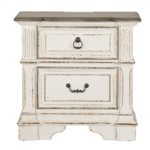 2 Drawer Night Stand w/ Charging Station
