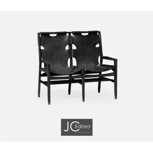 Midcentury Style Slung Black Leather & Black Mocha Oak Two Seat Bench