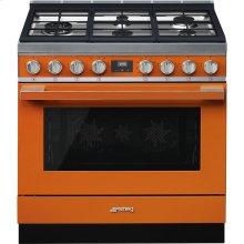 "Portofino Pro-Style Dual Fuel Range, Orange, 36"" x 25"""
