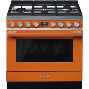 """SmegPortofino Pro-Style Dual Fuel Range, Orange, 36"""" x 25"""""""