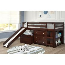 Pine Ridge Brown Low Loft Bed with Bookcase & Storage with options: Twin, With Chest, Bookcase, and Toy Box