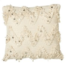 Hand Woven Ecru Pillow with Sequin & Fringe (Each One Will Vary)